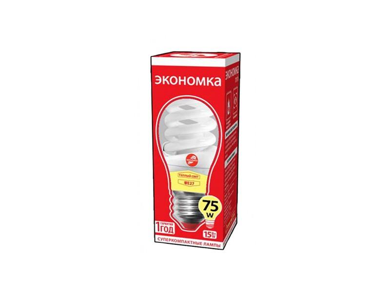 Лампа КЛЛ 15W E27 4000К белый свет Экономка Трубка T2