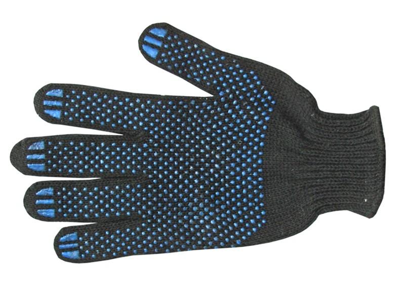 Перчатки чёрные с ПВХ 7,5 класс 7-ми нитка Россия