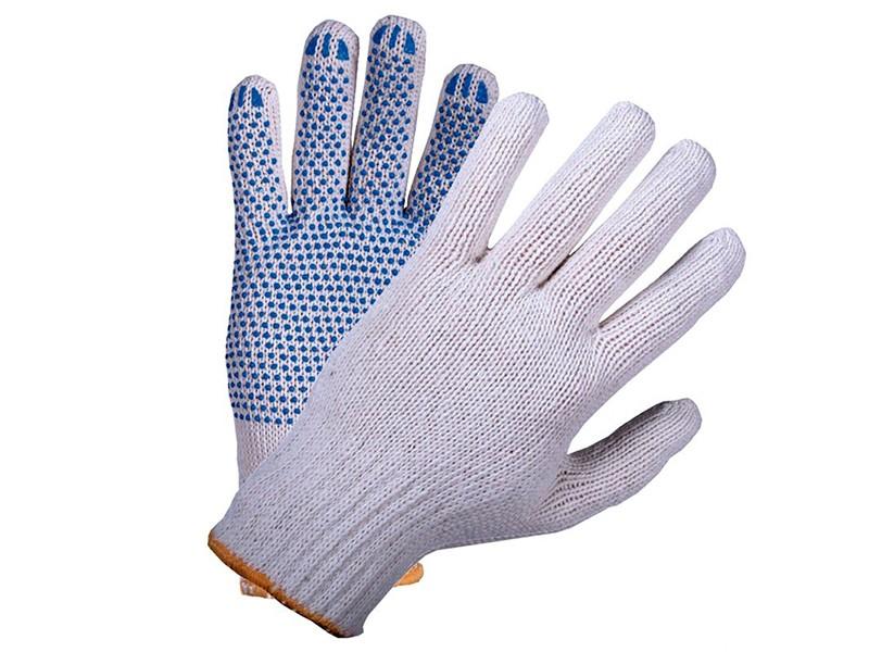 Перчатки белые с ПВХ 7,5 класс 5-ти нитка Россия