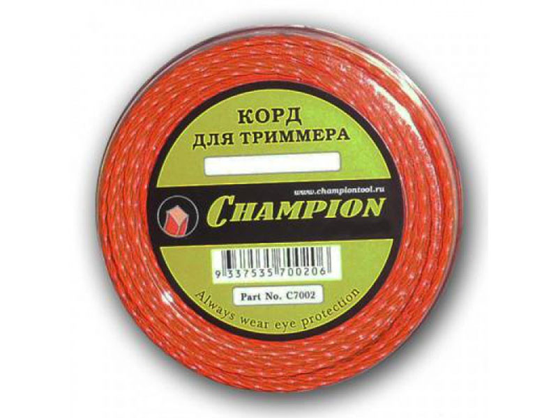 Леска для триммера Champion d 2,4мм/12м
