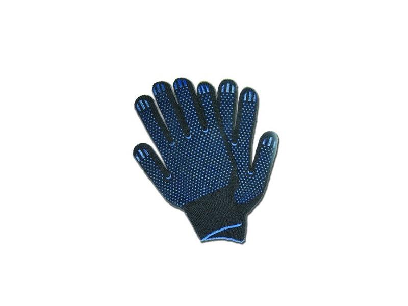 Перчатки чёрные с ПВХ 7,5 класс 5-ти нитка Россия