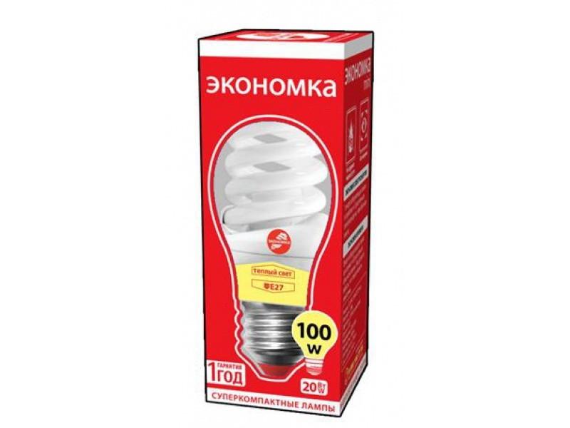 Лампа КЛЛ 20W E27 2700К тёплый свет Экономка Трубка T2