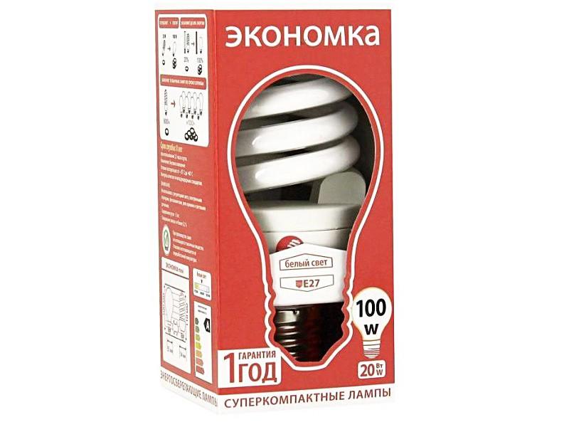 Лампа КЛЛ 20W E27 4200К белый свет Экономка Трубка T3